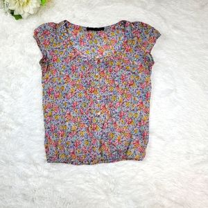 Zara Basic Size Small Floral Peasant Blouse Semi-Sheer Top Cap Sleeve Button Up